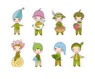 Set z małymi ślicznymi gnomami Lasowi elfy Zdjęcie Stock