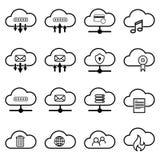 Set z obłocznymi ikonami Prości obłoczni piktogramy na białym tle Zdjęcia Royalty Free