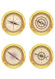 Set złoci kompasy Obrazy Royalty Free