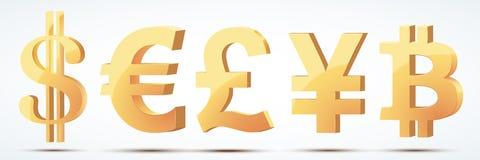 Set Złocistej waluty symbole Zdjęcie Stock