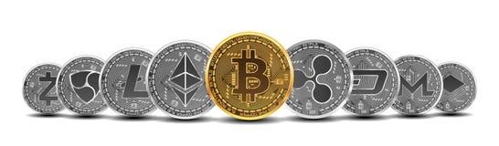 Set złoto i srebne crypto waluty Obrazy Royalty Free