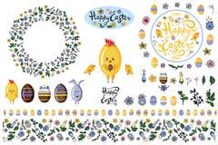 Set z projektów elementami odizolowywa na bielu dla Easter i skacze ulotki, reklamy, zawiadomienia ilustracja wektor