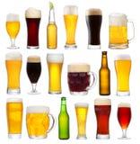 Set z różnym piwem Zdjęcia Royalty Free