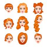 Set z różnymi fryzurami rudzielec patroszonej twarzy ręki ilustracyjne s kobiety Zdjęcia Royalty Free