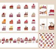 Set z różnymi owoc torta plasterkami Różny smak Zdjęcie Royalty Free