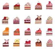 Set z różnymi owoc torta plasterkami Zdjęcia Stock