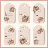 Set z ręki rysującymi prezentów pudełkami doodles prezent etykietki etykietka inkasowy wektor royalty ilustracja