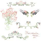 Set z ramą graniczy, kwieciści dekoracyjni ornamenty z akwarelą kwitnie, liście i gałąź dla poślubiać royalty ilustracja