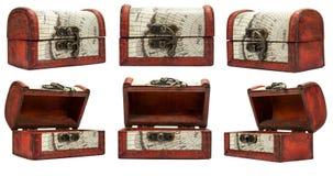 Set z rocznika pudełkiem odizolowywającym na bielu Obrazy Stock
