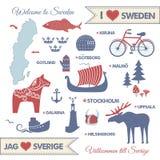 Set z symbolami i mapą Szwecja Fotografia Stock