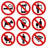 Set Zabraniał Żadny przerwa znaka ilustracji
