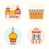 Set zabytku i budynku cienkie kreskowe kolorowe ikony royalty ilustracja