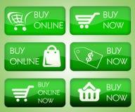 Set zakupu online guziki ilustracji