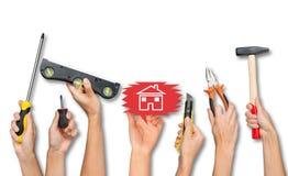 Set zaludnia ręki mienia narzędzia Zdjęcia Royalty Free