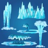 Set zamarznięci strumienie i pluśnięcia odizolowywający na błękitnym tle woda również zwrócić corel ilustracji wektora ilustracji