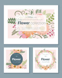 Set zaproszenie karty z kolorowymi kwiatami 2 Obraz Stock