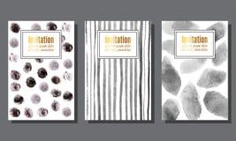 Set zaproszenie karty z monochromatycznymi akwarela punktami, str i Fotografia Stock