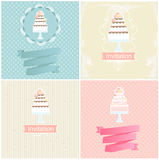 Set zaproszenie projekty z tortami Fotografia Stock