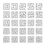 Set zarysowane labirynt ikony ilustracji