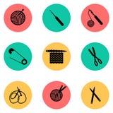 Set zawiera dziewięć ikon opisuje dziewiarskiego proces ilustracji