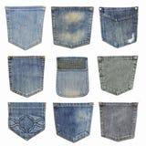 Set zbliżenie tekstury cajg, Kieszeniowy detai Fotografia Royalty Free
