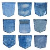 Set zbliżenie tekstury cajg, Kieszeniowy detai Fotografia Stock