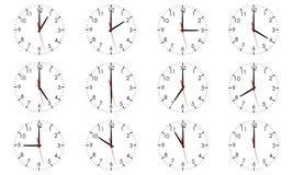 Set zegarowe tarcze pokazuje różnorodnego czas odizolowywającego ilustracja wektor