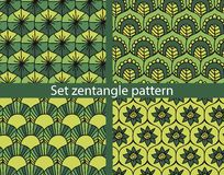Set zentangle pattern. 4 Seamless Floral Pattern Vector. Hand Drawn Floral Texture Stock Photo