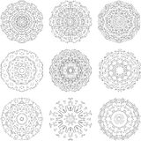 Set of zentangle style mandalas. Hand drawn vector illustration Stock Image
