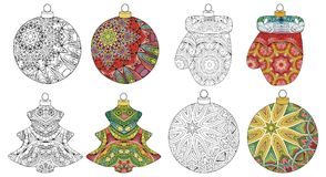 Set of zentangle stylized Christmas decorations. Hand Drawn lace vector illustration. Balls for coloring and painted. Christmas decorations zentangle styled with stock illustration