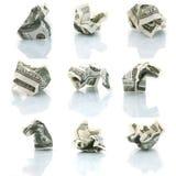 Set zerquetschte Dollar stockfoto