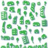 Set zieleni domy Zdjęcia Stock