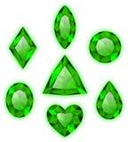 Set zieleni klejnoty ilustracji