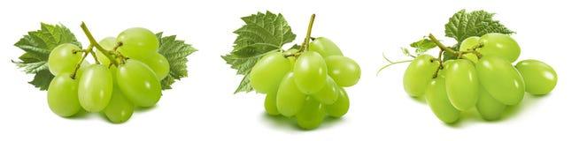 Set zieleni winogrona odizolowywający na białym tle z ścinek ścieżką zdjęcie royalty free