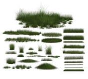 Set Zielonej trawy projekty Zdjęcie Stock