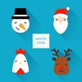 Set zim ikony z Bożenarodzeniowymi charakterami: kogut, Santa, bałwan i rogacz, Płaski projekt Fotografia Stock