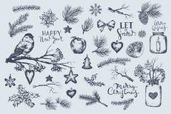 Set zima, boże narodzenia, nowy rok ilustracje ilustracji