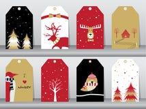 Set zima, boże narodzenie wakacje, urlopowy plakata set Płaski projekt, use dla powitania i zaproszenie karta, ściągania ilustrac royalty ilustracja