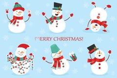 Set zima wakacji bałwan Rozochoceni bałwany w różnych kostiumach Bałwanu szef kuchni, magik, bałwan z cukierkiem i prezenty, Fotografia Royalty Free