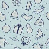 Set zima wizerunki Bezszwowy tło Zdjęcie Royalty Free