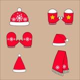 Set zimy ` s odzieży ciepli kapelusze, mitynki i szalik, ilustracja wektor