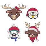 Set zimy zwierzęcia portrety Zdjęcia Royalty Free