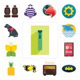 Set of zipper, bat, heater, car crash, pinapple, login screen, buterfly, betta fish, service dog icons. Set Of 13 simple editable icons such as zipper, bat Stock Photos