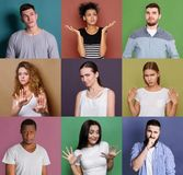 Set zmieszani różnorodni ludzie przy pracownianymi tło fotografia stock