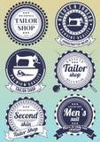 Set zmrok - błękitne round odznaki dla krawieckich sklepów Zdjęcie Royalty Free