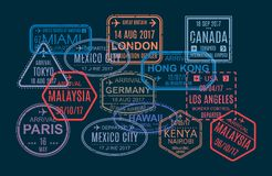 Set znaczek, druk, oceny w cudzoziemskim paszporcie dla podróży Fotografia Stock