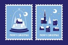 Set znaczki pocztowi dedykował Bożenarodzeniowi wakacje i nowy rok ilustracja wektor