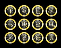 Set of zodiac buttons. Decorated zodiac constellations Stock Images