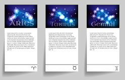 Set zodiac. Set or collection horoscope or zodiac or constellation aries, taurus, gemini Stock Image