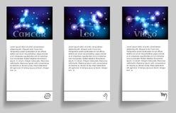 Set zodiac. Set or collection horoscope or zodiac or constellation cancer, leo, virgo Stock Photos